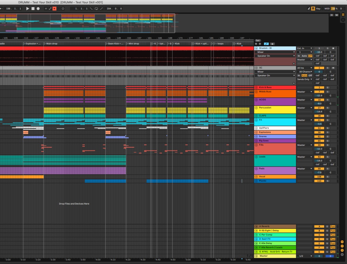 Music production project organisation
