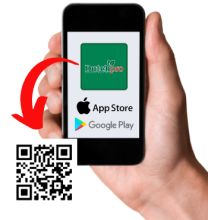 hand holding phone with qr code to download dutchpro ar app