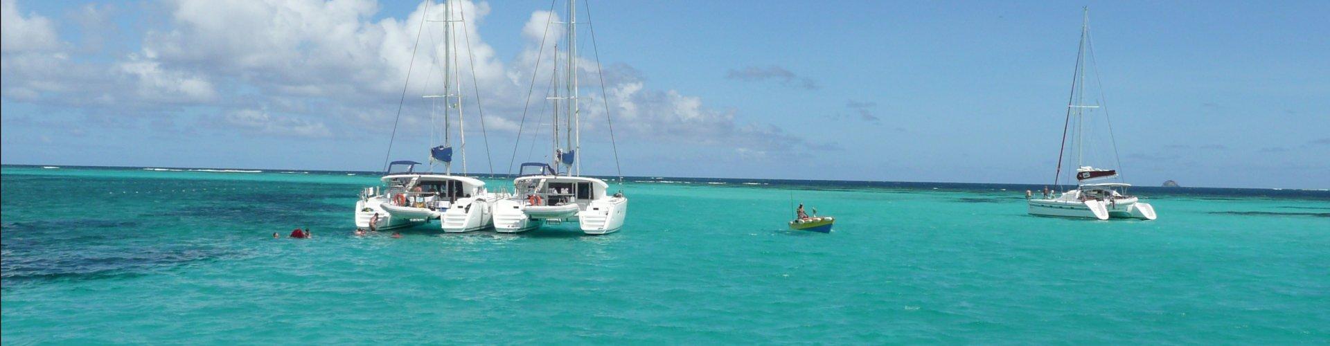 Catamaran voor anker