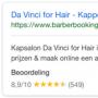 Google zoekresultaten BarberBooking