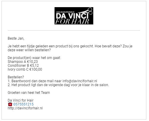 Product verkoop mail