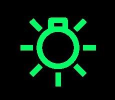 groene dashboardlampjes - koplampen-aan