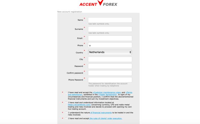 Gratis account aanmaken bij AccentForex