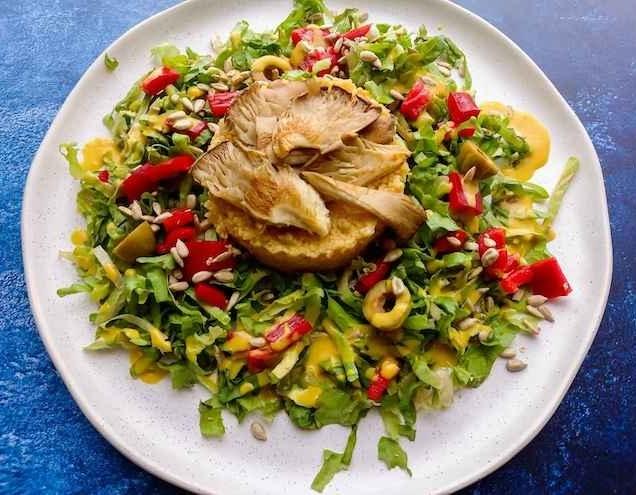 Linzen couscous met oesterzwammen en andijvie