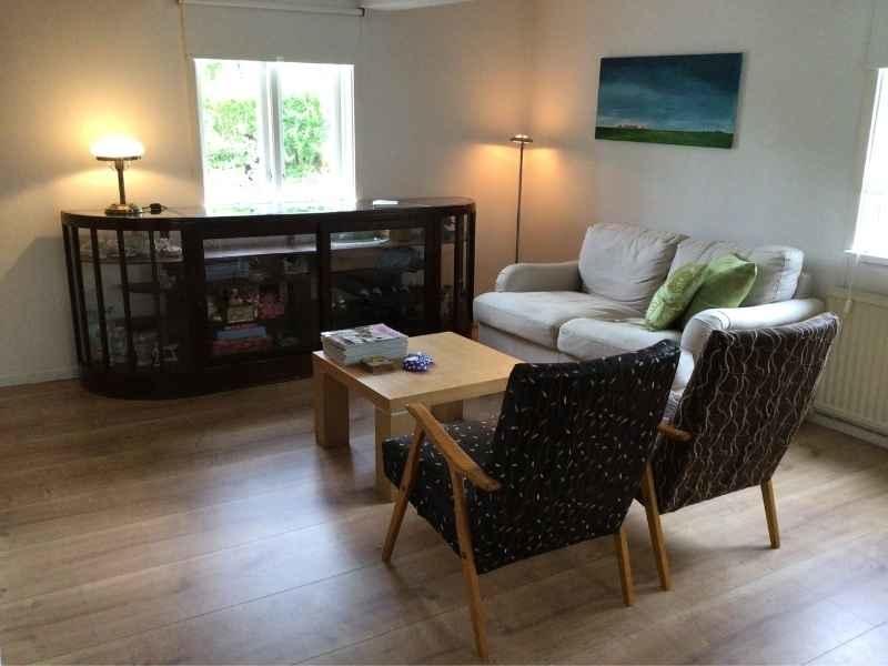 woonkamer vakantiehuis in Zweden