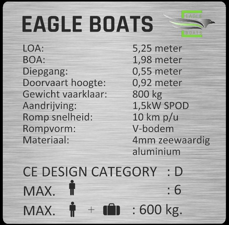 Tender 525 Eagle boats aluminium   Elektrisch Varen Centrum