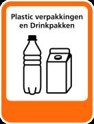 Plastic verpakkingen en Drinkpakken sticker afval scheiden