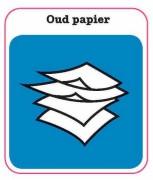 Oud Papier sticker afval scheiden