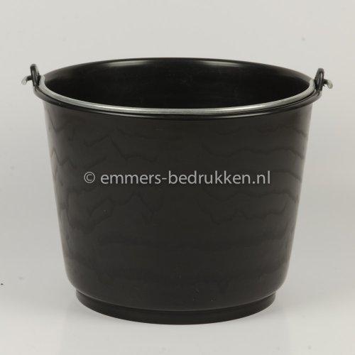 12 liter emmer zwaar model zwart