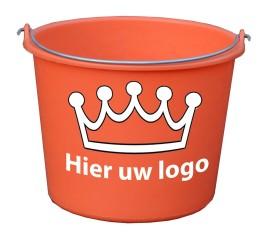 Oranje emmer met logo
