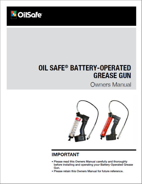 Battery-operated grease gun owners manualual