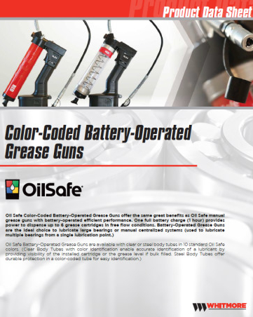 Colour-coded Battery-operated grease guns - OilSafe