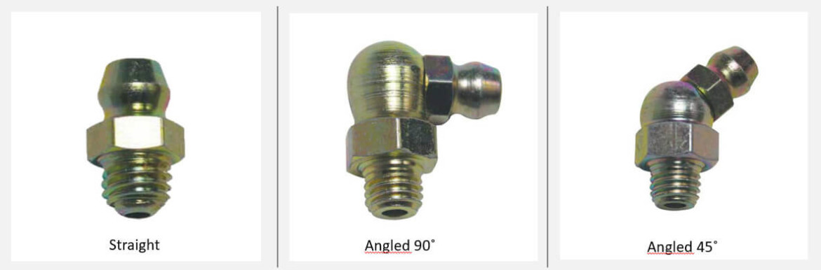 Grease fittings: straight, angled in 45 and 90 degrees