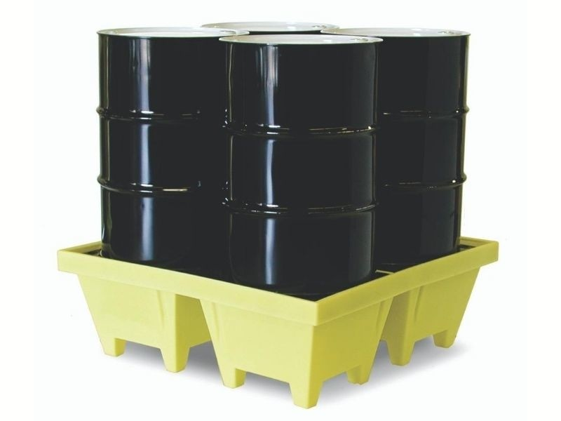 Spill pallet for 4 drums - square - low profile