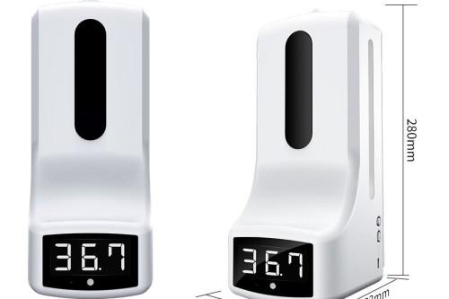 Desinfectiezuil met sensor en temperatuur alarm