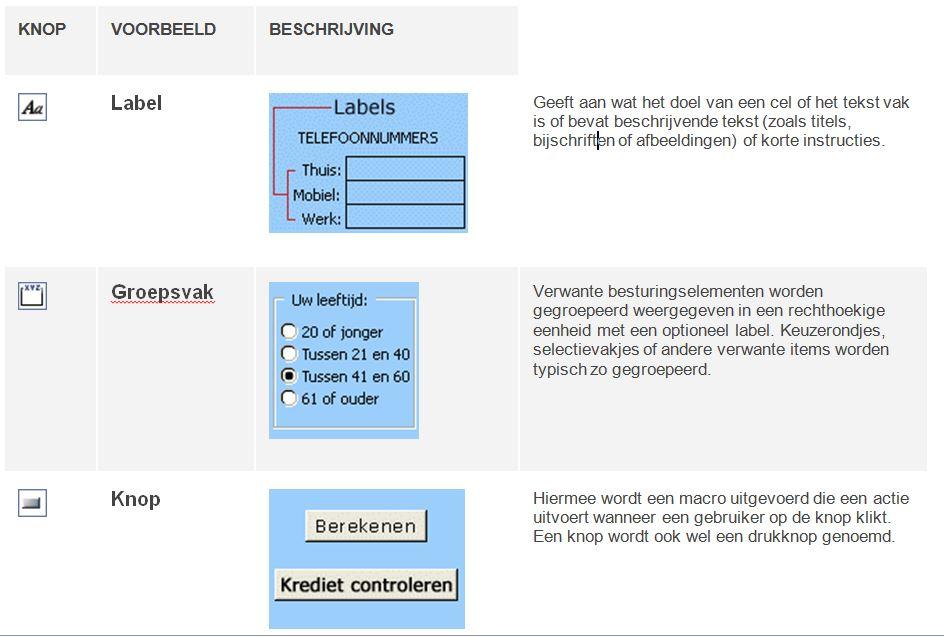 De Excel besturingselementen:  labels, groepsvak en opdrachtknop.
