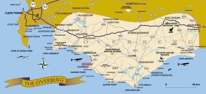 Kaart Overberg Regio - Zuid-Afrika