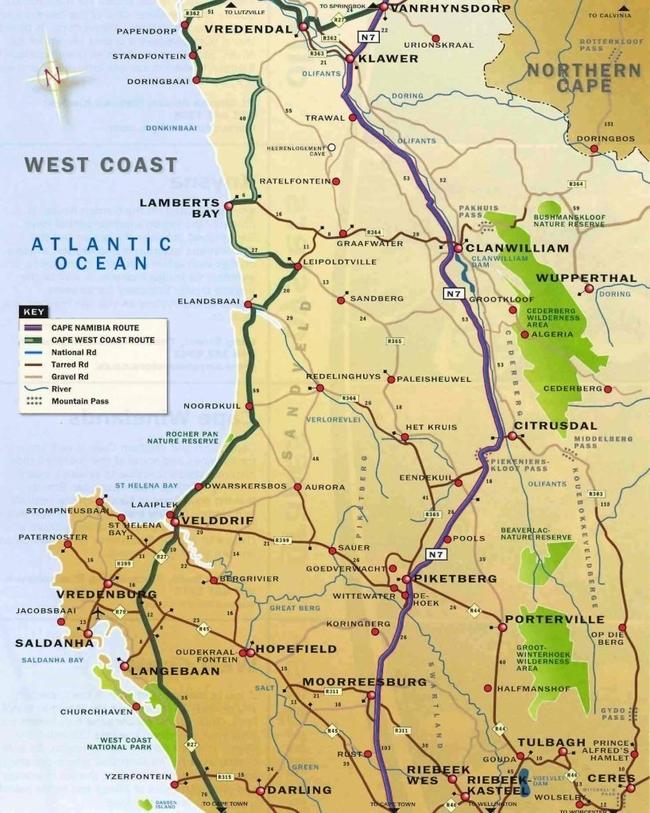 kaart west coast
