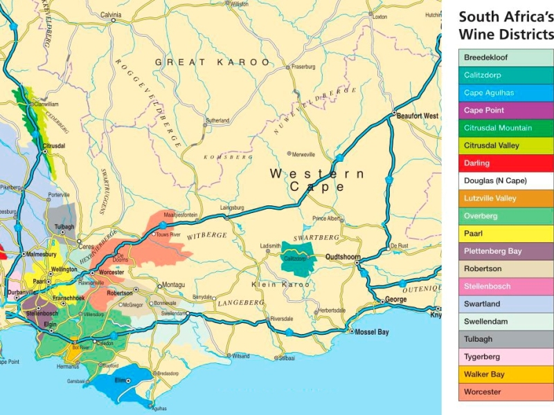 kaart wijnstreken zuid afrika