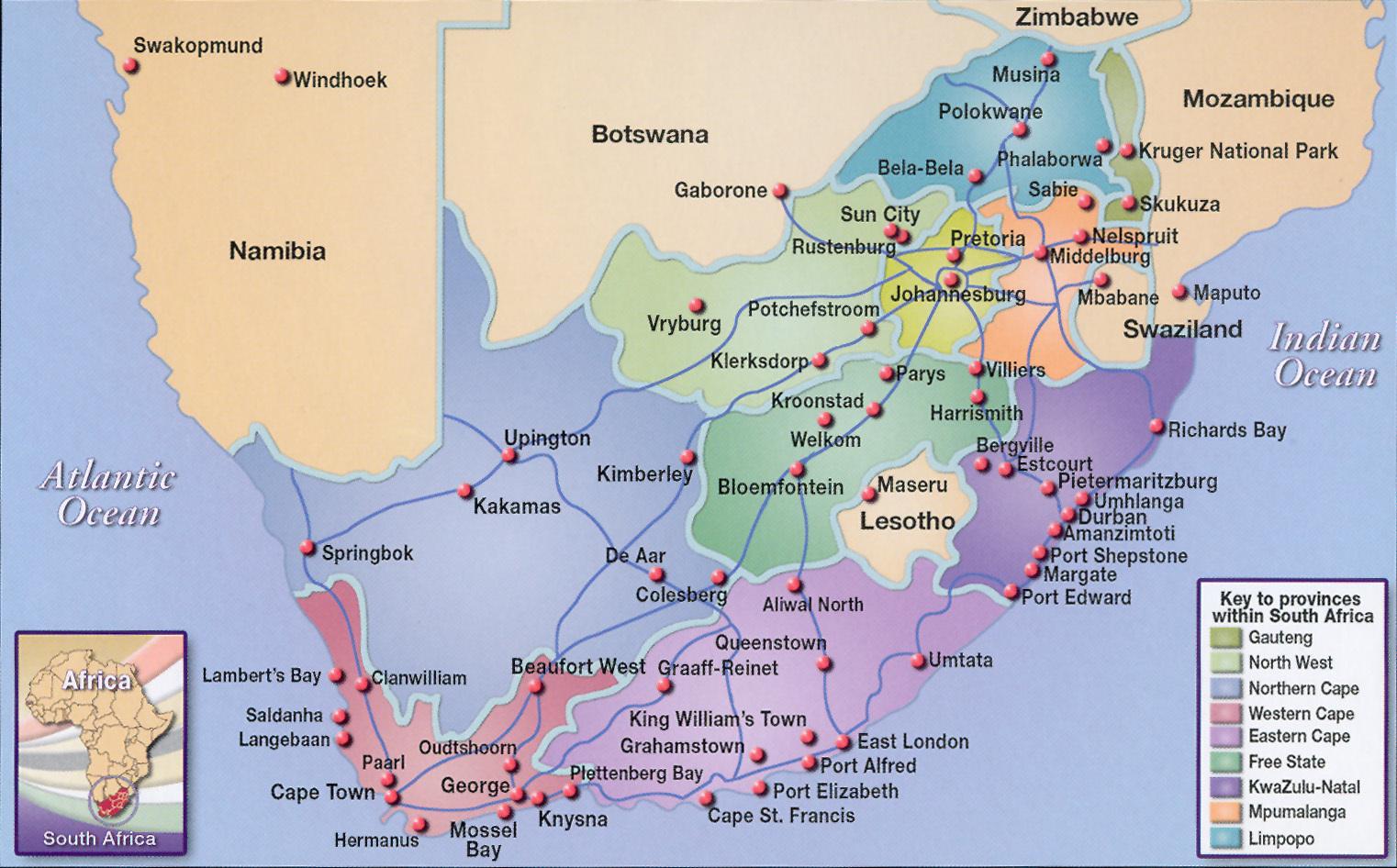 kaart grote steden zuid afrika