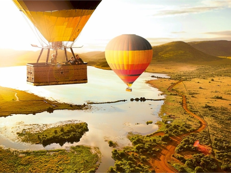luchtballon varen in zuid afrika safari