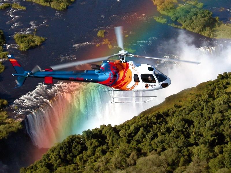 helicopter tours in zuid afrika victoria falls regenboog waterval