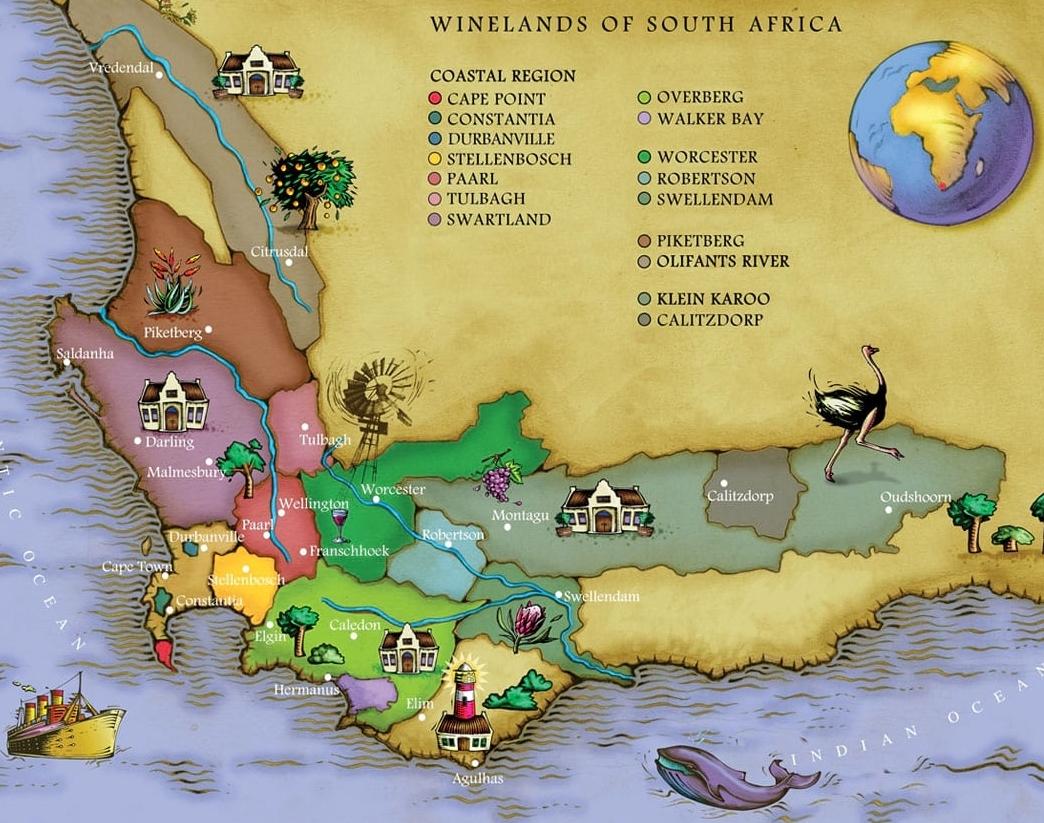 Kaart Cape Winelands Zuid-Afrika