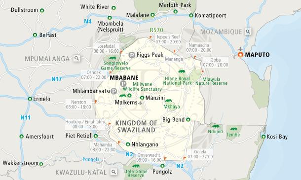kaart-swaziland-zuid-afrika