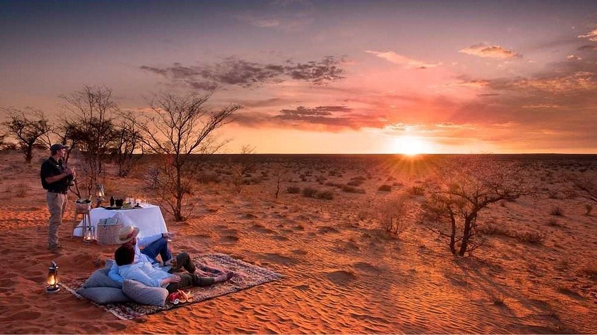 Safari Zuidelijk Afrika tswalu-sunset-picnic