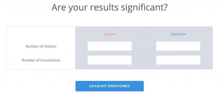 A/B split test significance calculator