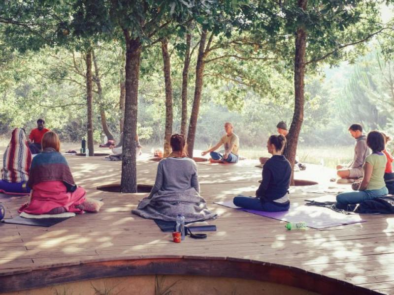 Deelnemers van de yogareis Portugal mediteren buiten onder de bomen