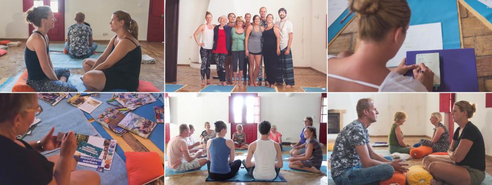 Een collage van deelnemers van de transformatiereis Portugal die coaching workshops doen en begeleiding krijgen