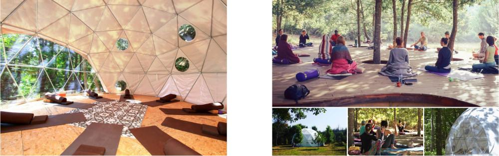 Een collage van faciliteiten transformatiereis Gravito zoals grote dome en buitenplatform voor coaching workshops en yoga