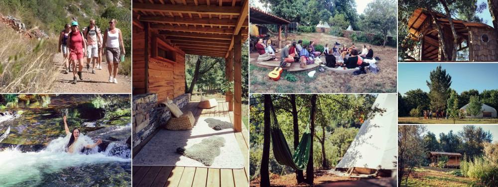 Een collage van het verblijf op de magische plek in de natuur omgeven door bossen en rivieren tijdens de transformatiereis in Portugal
