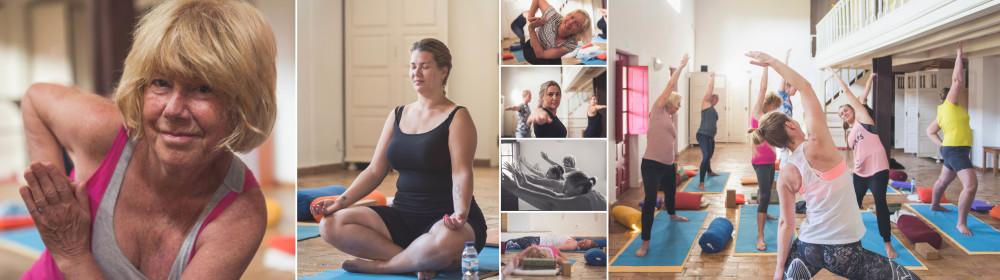 Een collage van deelnemers van de transformatiereis Portugal die yoga doen