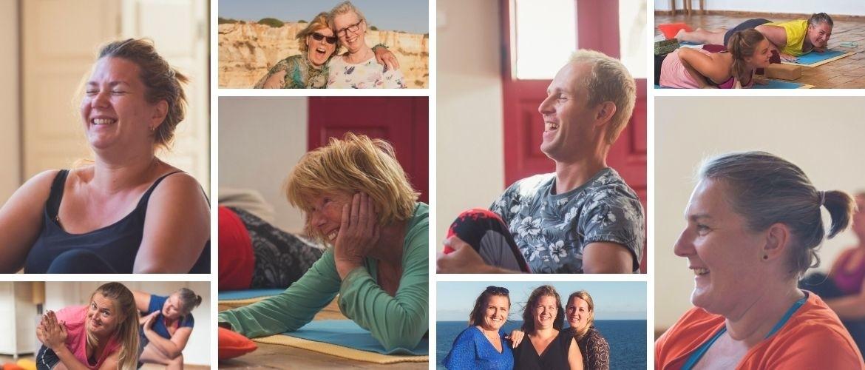 Lachende mensen die plezier, gezelligheid en onderlinge verbinding ervaren tijdens een retreat
