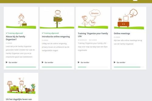 Overzicht van de online trainingen van de Family Organizer
