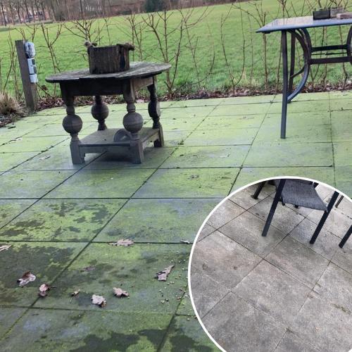 Resultaat met Floramix buitenaanslag reiniger