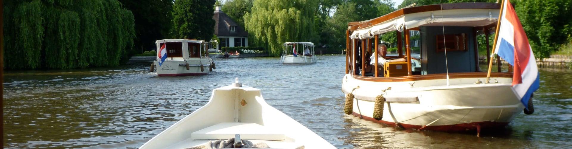 Salon boats on river Vecht