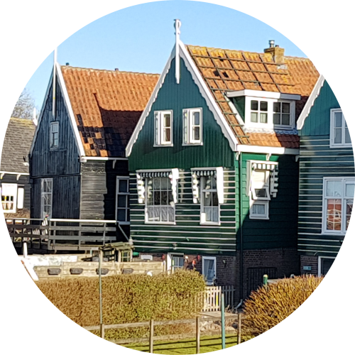 Authentic wooden houses at Marken