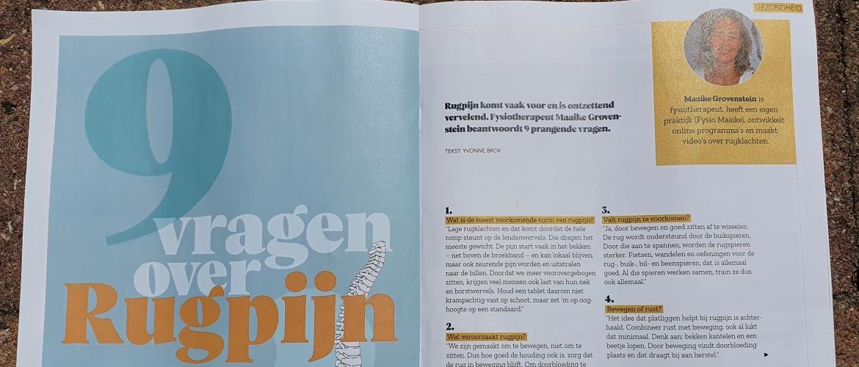 Fysio Maaike als rugklachten expert in Blijtijds Magazine