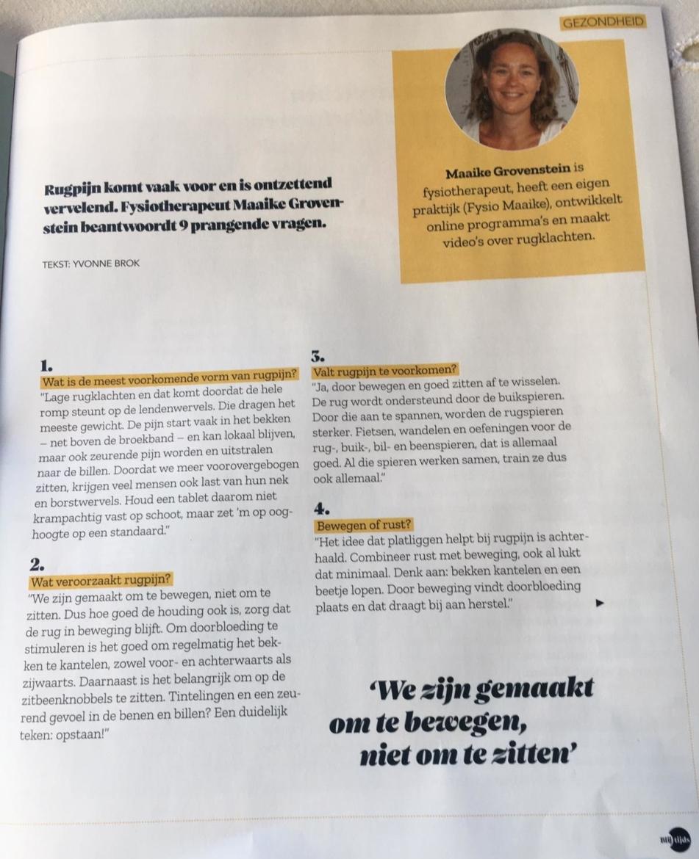Fysio Maaike in het Blijtijds magazine