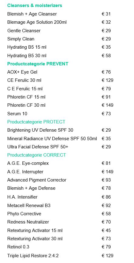 Skinceuticals prijzen