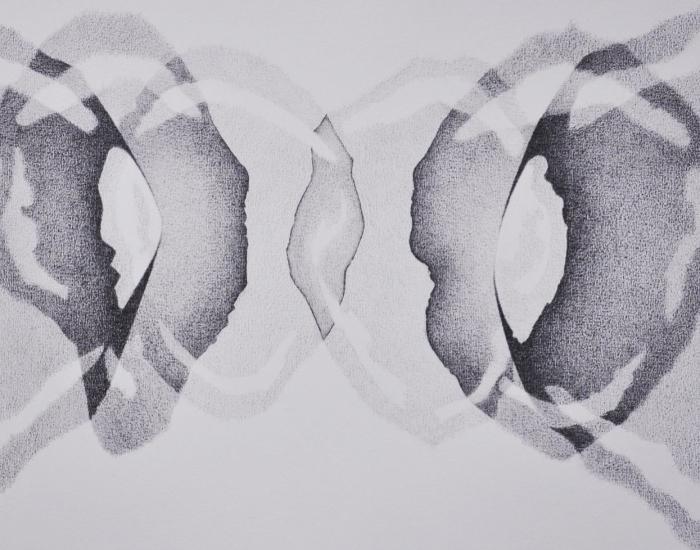 abstracte potlood tekening en grafisch werk