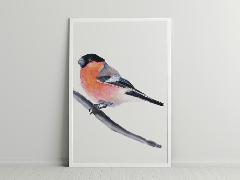 vogel in mixed media van Angela Peters