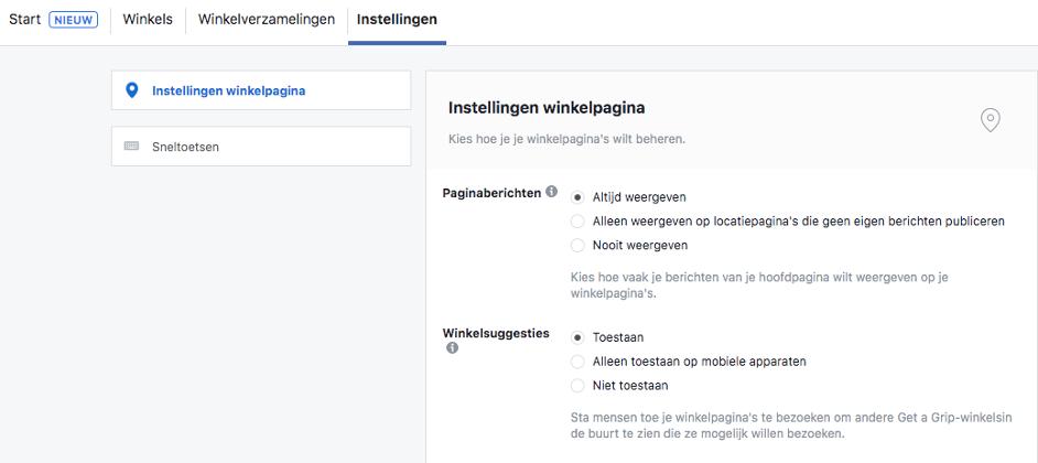 bedrijfsmanager instellingen facebook locaties