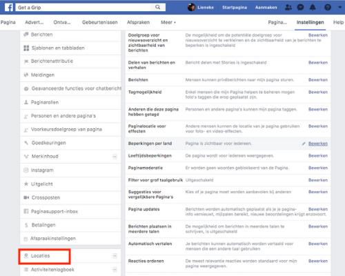Facebook locaties details