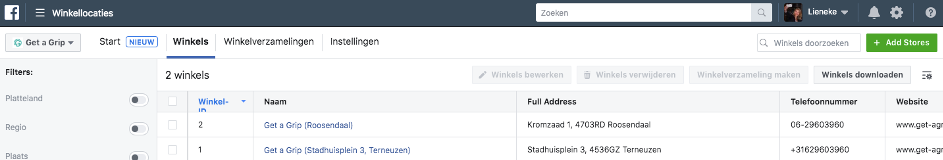 locaties facebook overzicht in bedrijfsmanager