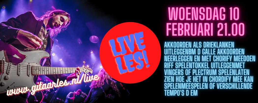 Live online gitaarles woensdag 10 februari