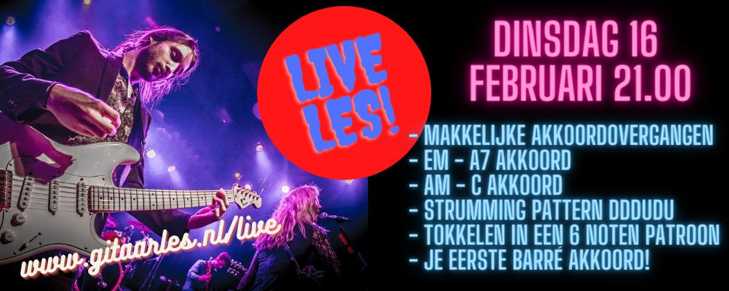 Live online gitaarles dinsdag 16 februari